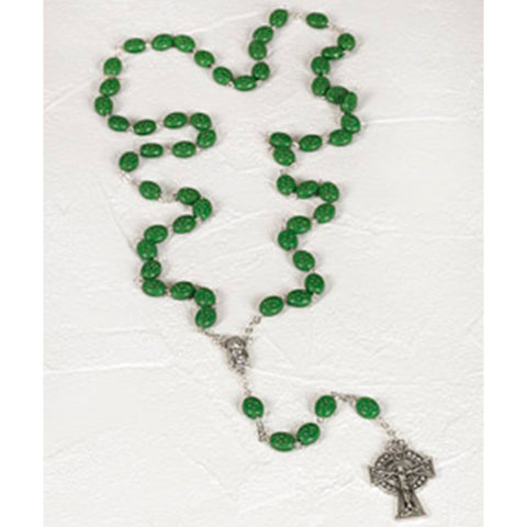 10mm Green Shamrock Bead Rosary