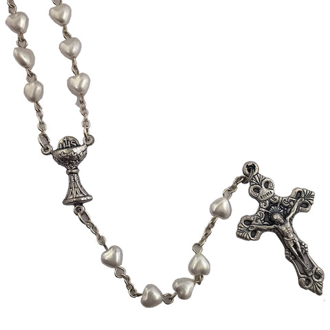 6mm Black First Holy Communion Imitation Pearl Heart Shaped Rosary