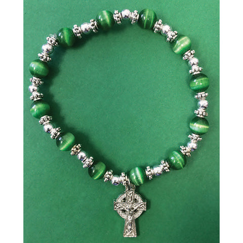Celtic Cross Glass Stretch Bracelet