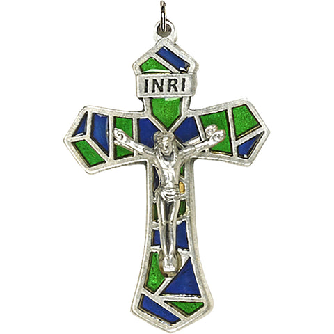 Blue/Green Enameled Crucifix