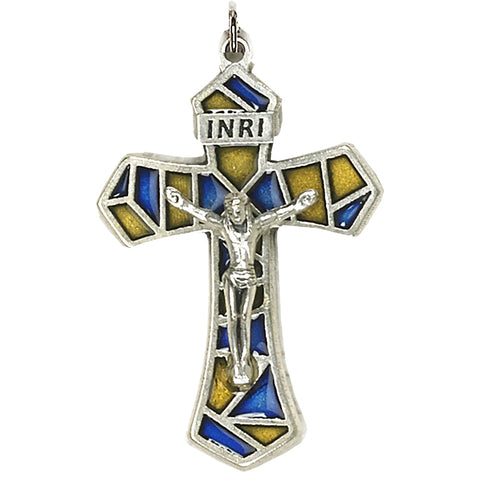 Blue/Yellow Enameled Crucifix