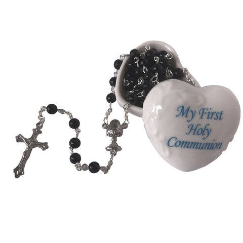 "Blue- ""My First Holy Communion"" Porcelain Keepsake Rosary Box"