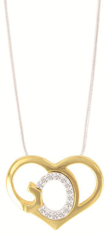 God's Heart Crystal and Gold Tone Necklace