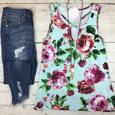 Bayside Babe Floral Tank