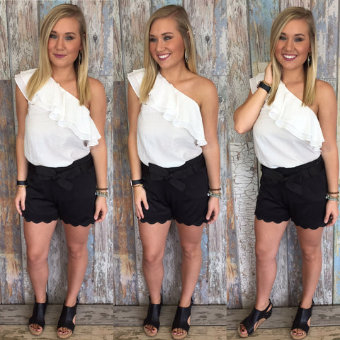 Whimsical White Top & Black Sally Scalloped Shorts