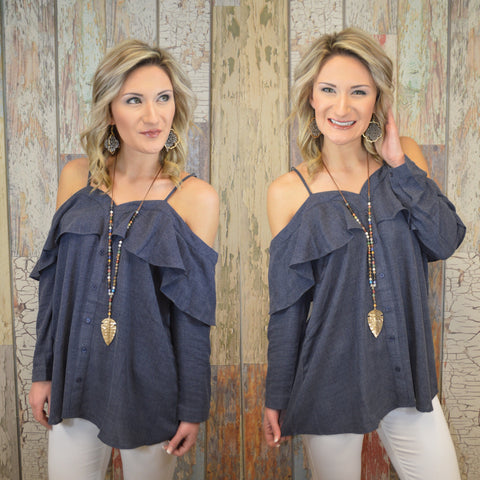 Get Your Shine On Cold Shoulder Top