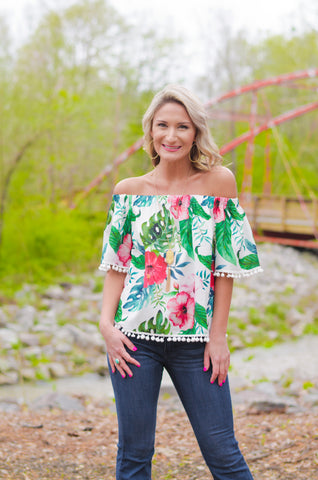 Aloha Summer Off Shoulder Top