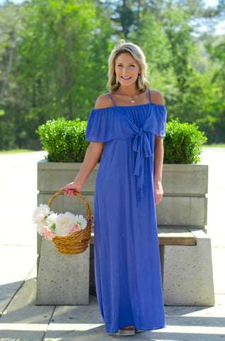 Cool Waters Off Shoulder Maxi