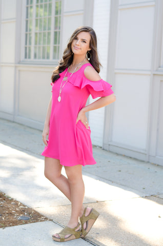 Vibrant Babe Cold Shoulder Dress