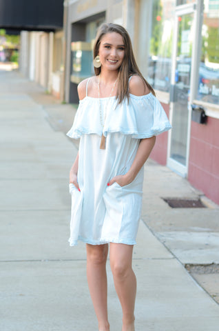 Chambray Cutie Off Shoulder Dress