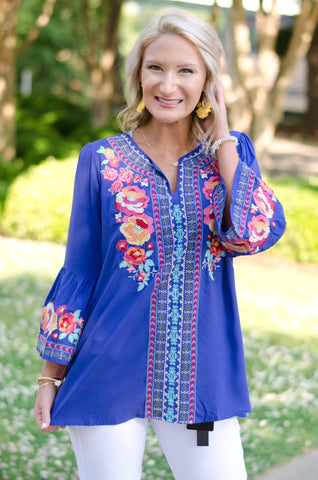 Color Your World Embroidered Top