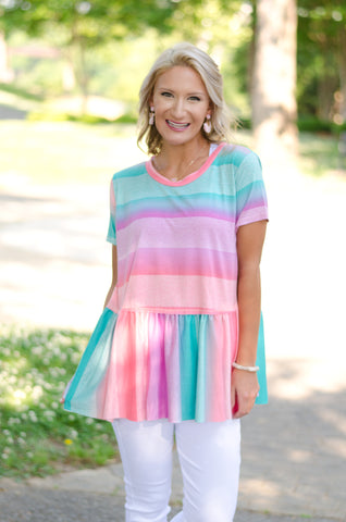 Time to Brunch Striped Babydoll Top