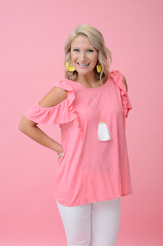 Bubblegum Babe Cold Shoulder Top