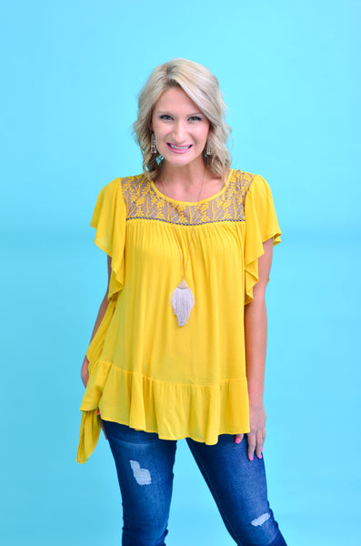 Darling Dreams Ruffle Sleeve Top