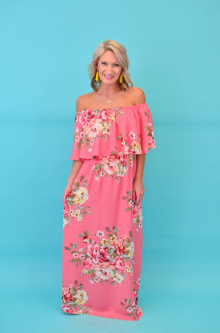 Floral Finale Off Shoulder Maxi