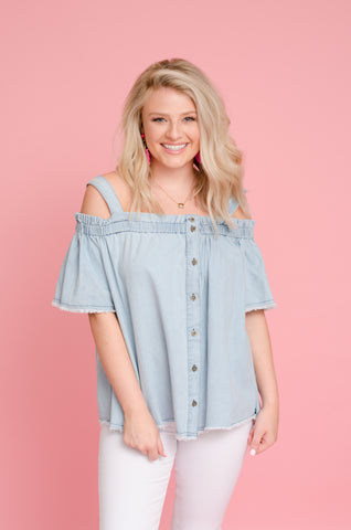 Think of Me Cold Shoulder Top