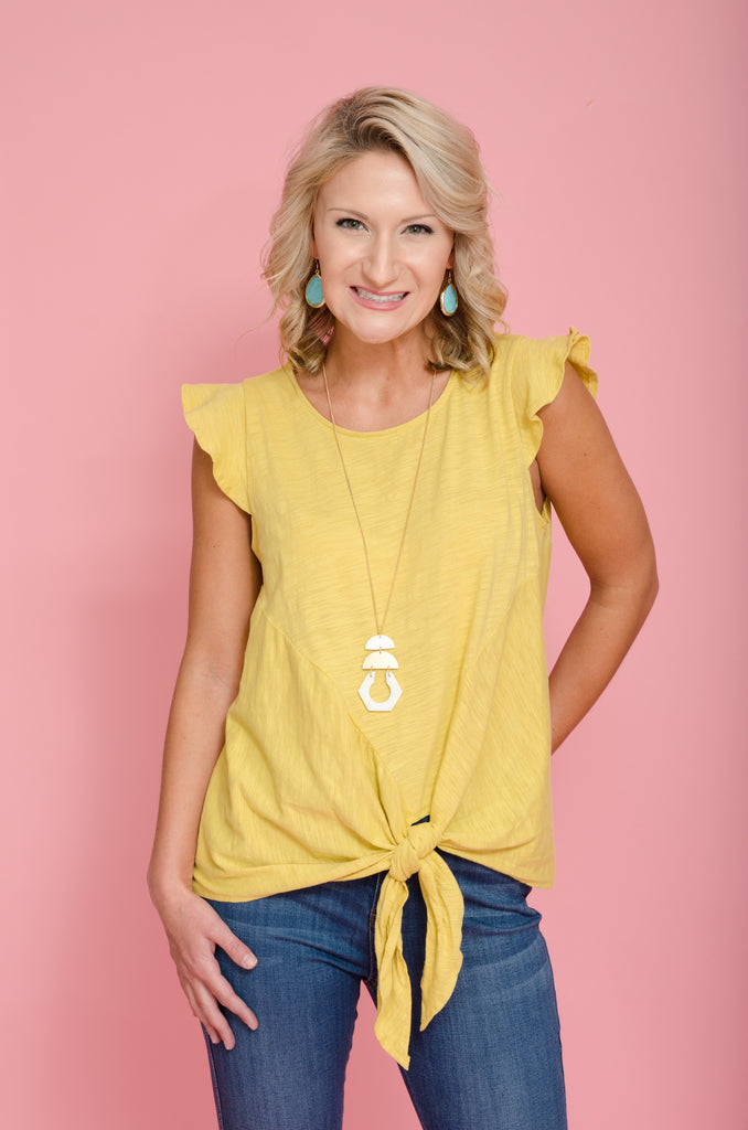 Sunflower Dance Ruffle Sleeve Top