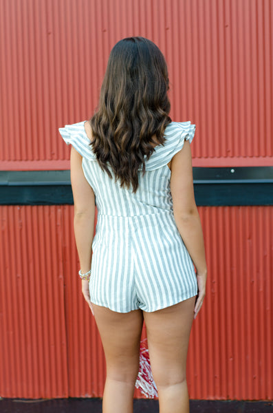 Sweep Me Off My Feet Striped Romper