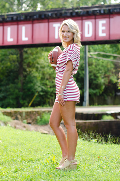 You'll Think of Me Striped Romper