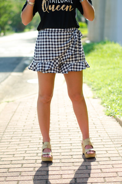 Taking My Time Gingham Skort