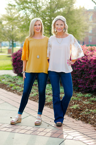 Sunshine & Lace Bell Sleeve Top