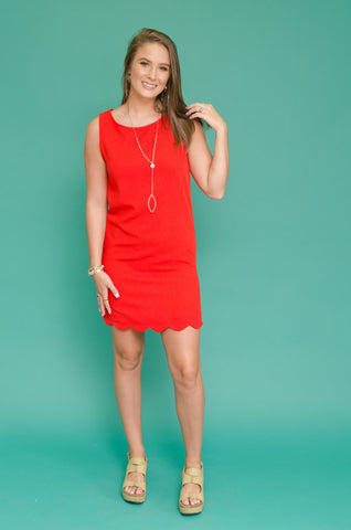 Dressed to Win Scalloped Dress