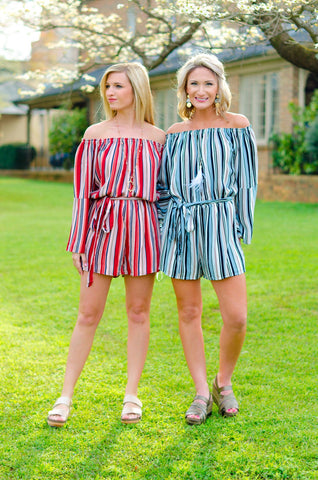 Charming Moments Striped Romper