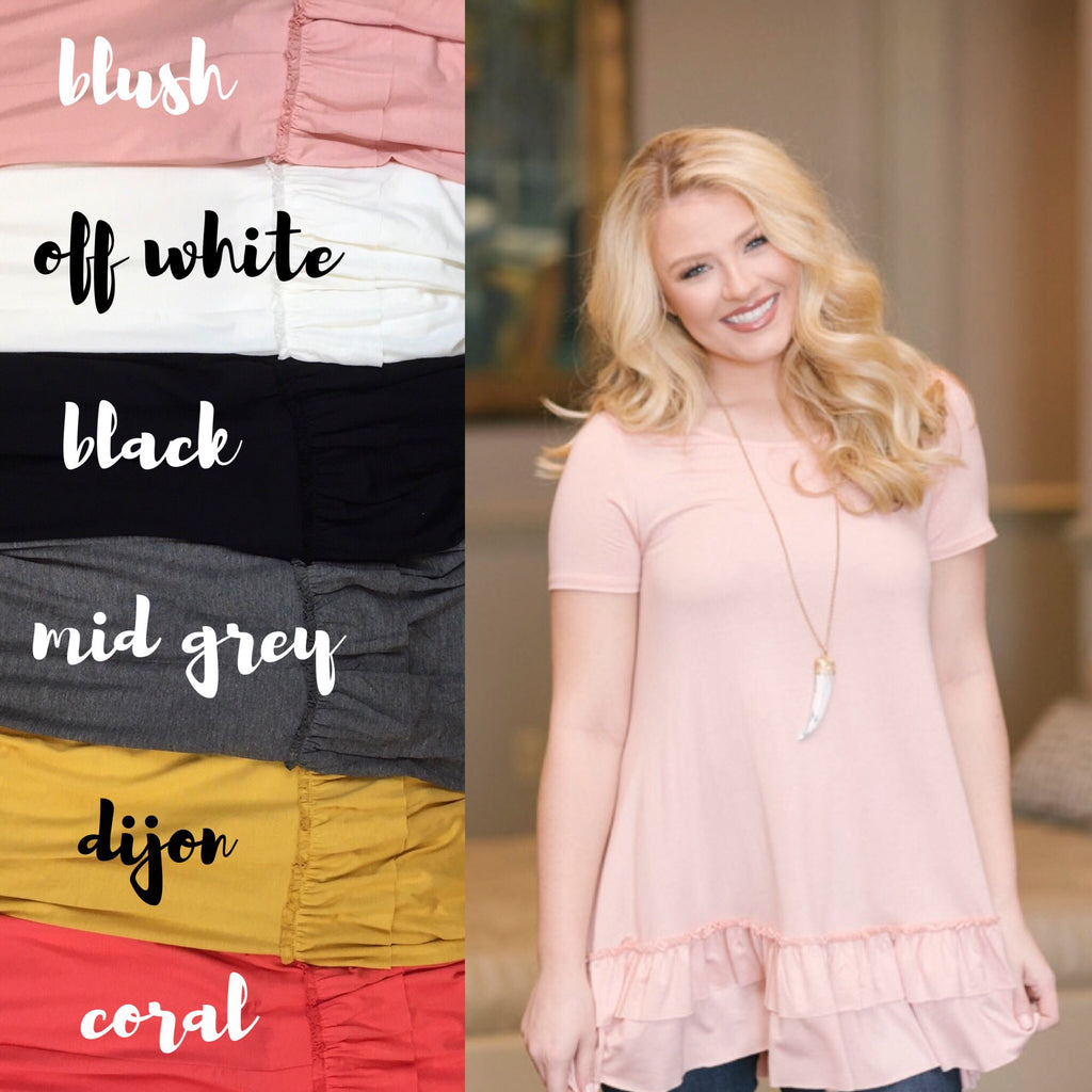 Off the Market Ruffle Top