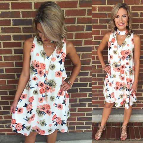 Strawberry Kiwi Floral Dress
