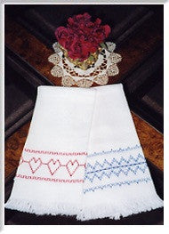 Huck Towel Pattern #1 - The Hearts in a Row & The Victorian Design