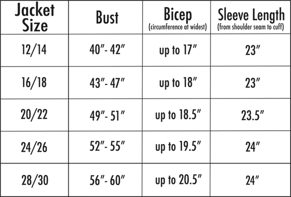 All 67 moto jacket size chart