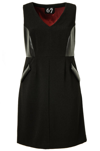 Leatherette Accent Dress (Sleeveless)