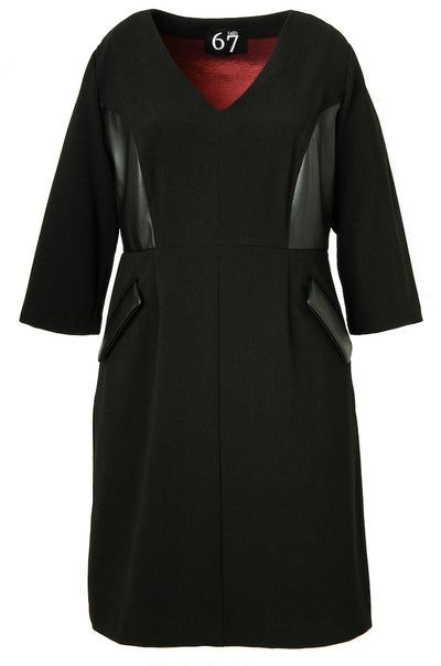 Leatherette Accent Dress (w/ Sleeves)