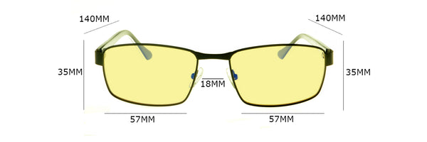 Covert Series Gaming Glasses Size Chart