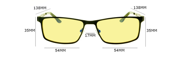 Razor Series Gaming Glasses Size Chart