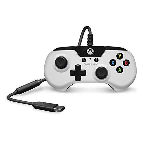 Hyperkin X91 Wired Gaming Controller - White - for Xbox One and Windows 10 (PC and Tablet) via USB with Retro Design, 3.5mm Headset Jack, and 9 Ft. Cable