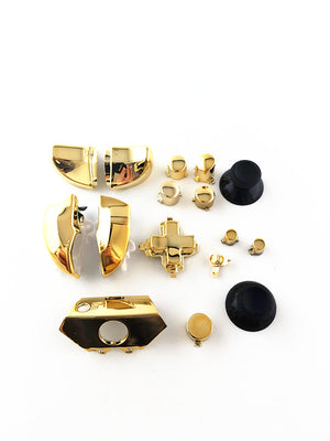 16Pcs Chrome Gold ABXY, Dpad, and Triggers Full Buttons Set