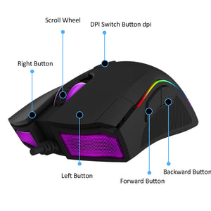 Delux M625 PMW3360 Wired Gaming Mouse - 2500 4000 DPI RGB Backlit