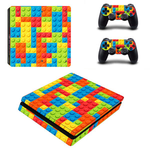 PS4 Slim Console Skin - Building Blocks