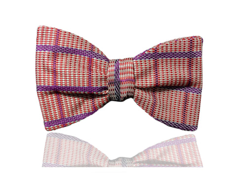 Orange Plaid Men's Bow Tie, Pre Tied Bow Tie, Self Tie Bow Tie