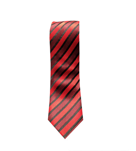 Red and Burgundy Striped Men's Necktie