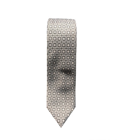 Silver Checkered Neck Tie