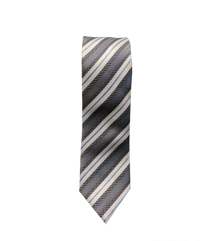 White and Grey Striped Neck Tie