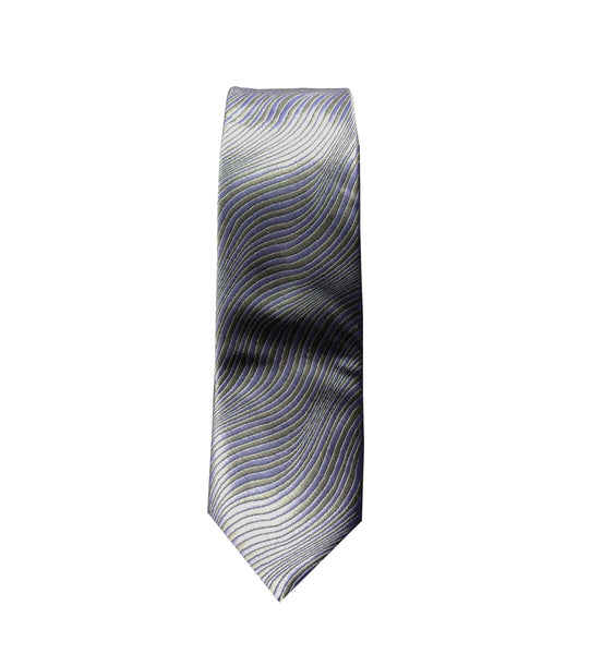 Flowing Silver and Blue Neck Tie
