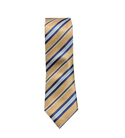Gold and Blue Striped Tie