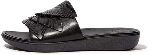 FitFlop Women's Sola Feather Slides Sandal, All Black, 7