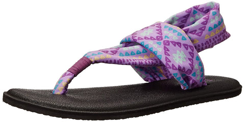 Sanuk Kids Girls' Y Yoga Sling Burst, Hot Orchid Geo Pop 6/7 M US Big Kid