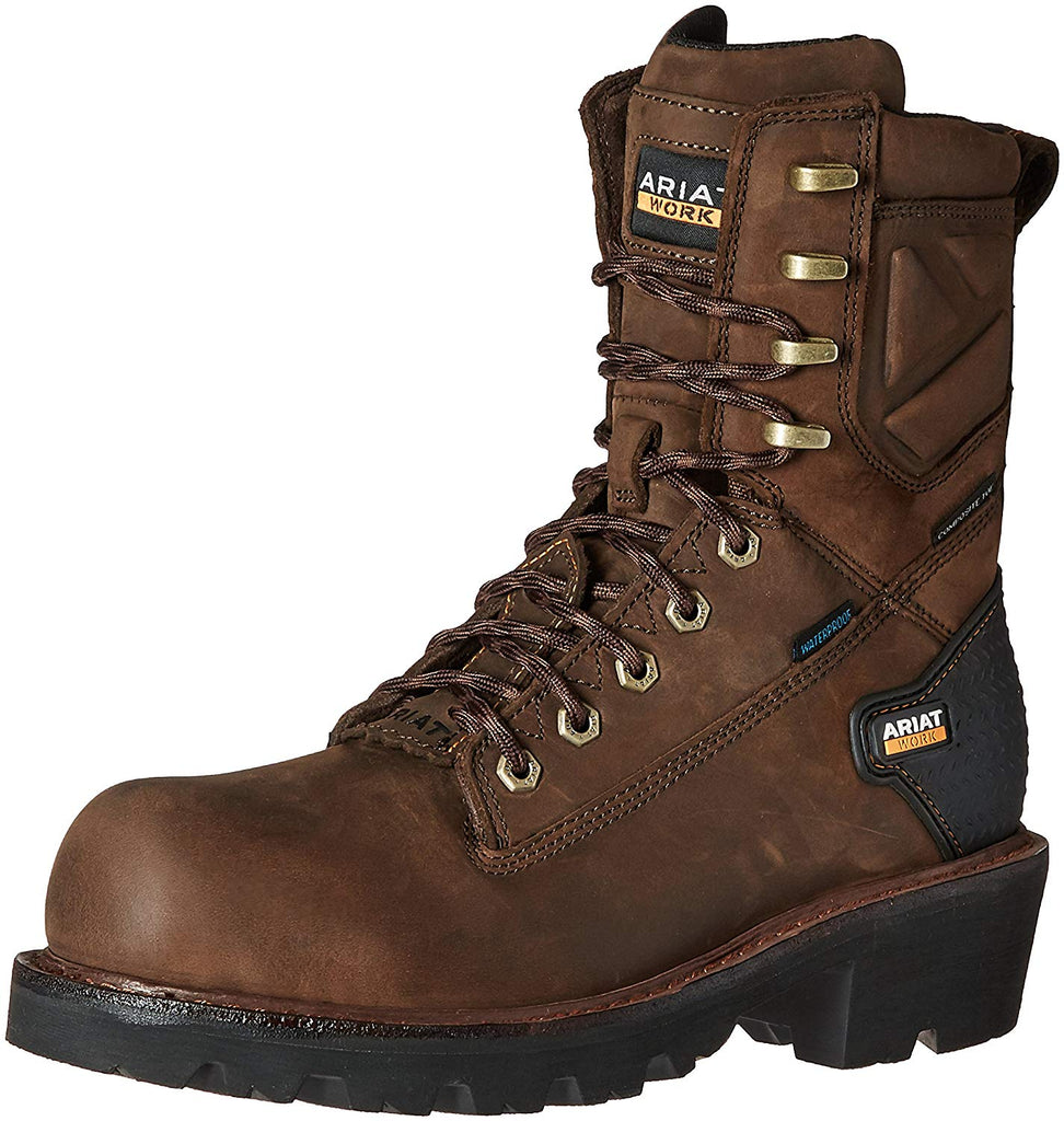 "Ariat Men's Powerline 8"" H2O Composite Toe Work Boot, Oily Distressed Brown, 10 D US"