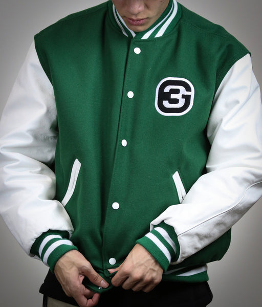 G3 Exclusive Varsity Jacket Kelly Green/White