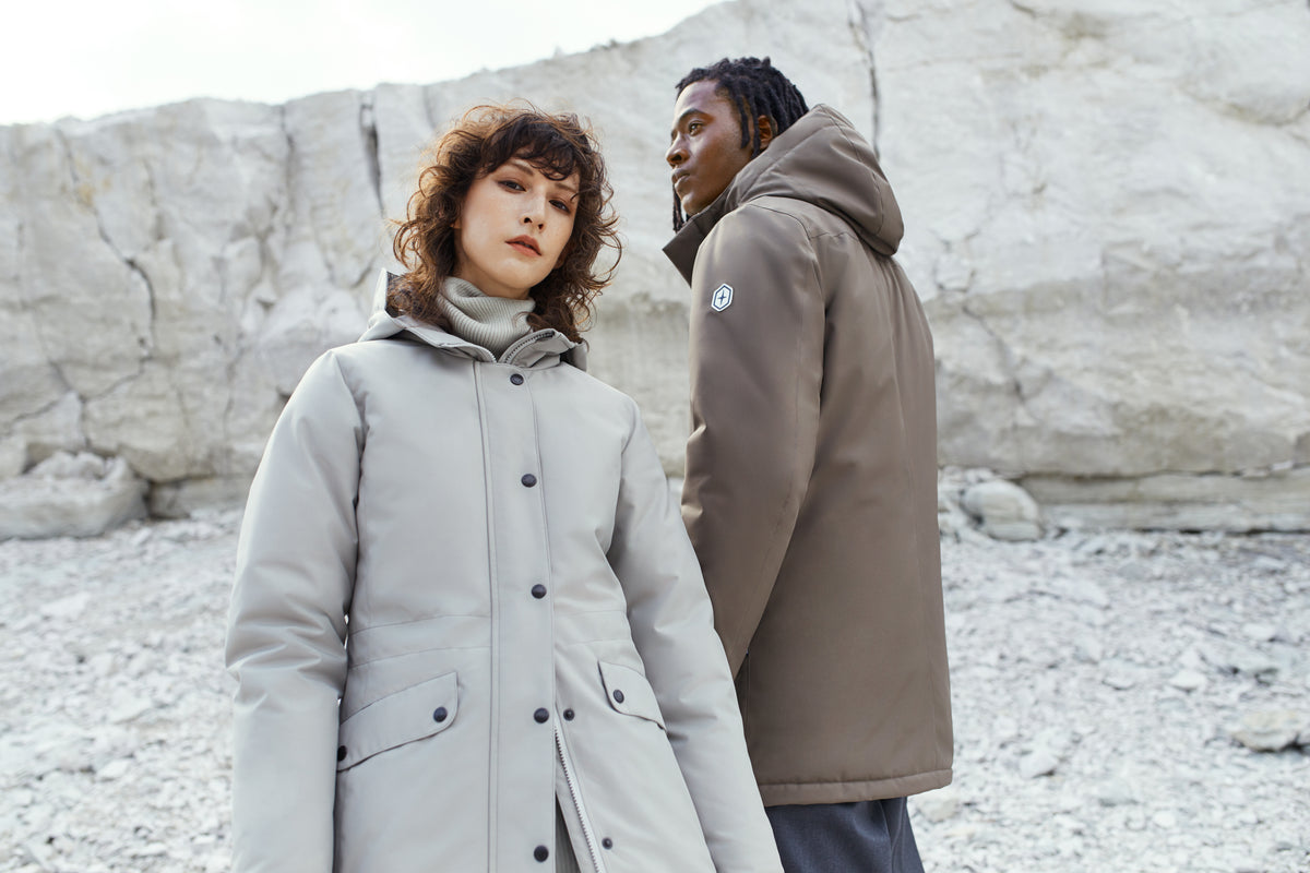 Quartz Co. winter jackets in light grey and light beige and made in Canada